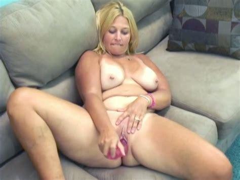 Chubby And Bosomy Blonde Whore Masturbates With A Dildo