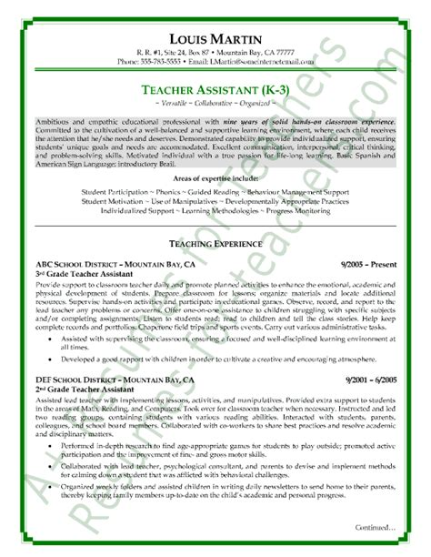 teaching assistant resume objective sle resumes view page two of this assistant resume sle resumes