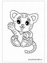 Tiger Coloring Baby Pages Preschool Crafts sketch template