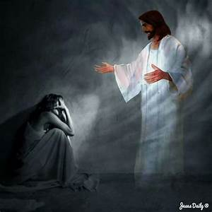 Prophetic Art painting of Jesus reaching out to woman in ...