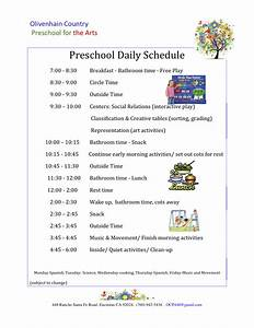 preschool daily schedule olivenhain country preschool With preschool daily schedule template