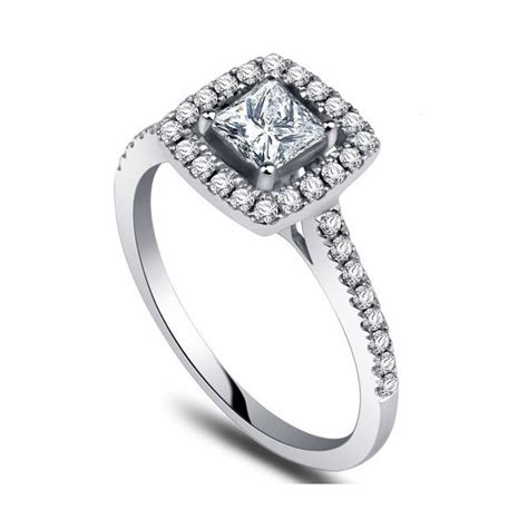 white gold princess cut wedding rings engagement ring with 1 2 carat princess cut diamonds on 10k white gold jeenjewels