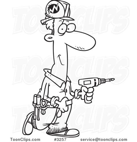 11271 electrician clipart black and white black and white line drawing of a electrician