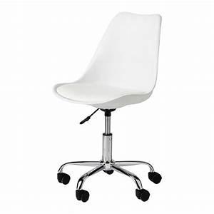 Chaise à Roulettes : chaise de bureau roulettes blanche bristol maisons du monde ~ Melissatoandfro.com Idées de Décoration