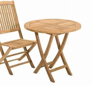 Table Pliante Ronde : table de jardin en teck ronde pliante sumbara ~ Teatrodelosmanantiales.com Idées de Décoration