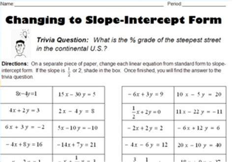 Converting Standard Form To Slopeintercept Form By K