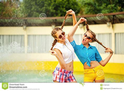 Teen Girl Sunglasses Having Fun Stock Image