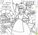 Cinderella Coloring Pages Outline Maid Chores Doing Clipart Disney Clip Colouring Around Housekeeping Housework Castle Cartoon Template Bannykh Alex Royalty sketch template
