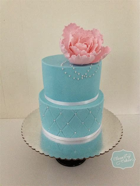 eileen fry cakes tiffany blue color cake   pink peony