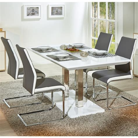 Table Chairs Edmonton by Edmonton Extendable Dining Table White Gloss 4 Marine Grey