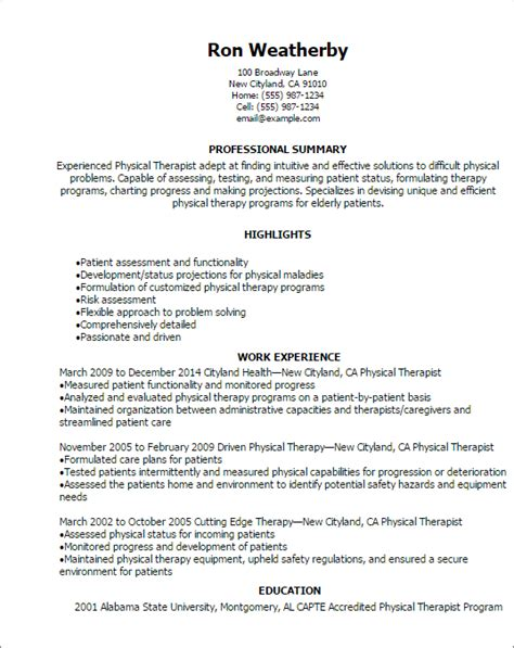 Resume Exles For Physical Therapist by Professional Physical Therapist Resume Templates To Showcase Your Talent Myperfectresume