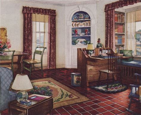 1920s home interiors 1931 traditional style living room armstrong linoleum 1930s interior design h midcentury