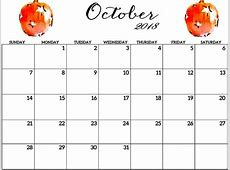 Free October 2018 Editable Calendar Printable {Download