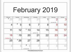 February 2019 Calendar PDF, Excel, Word March 2019 Calendar