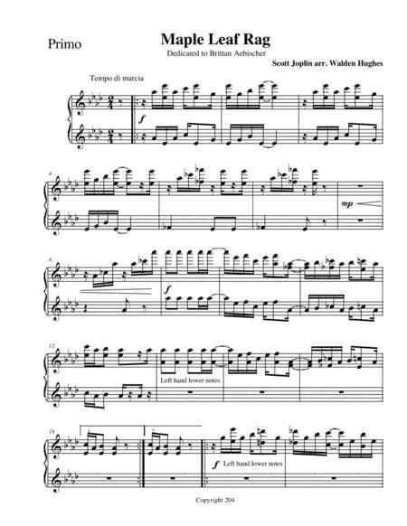 By scott joplin, transcription for flute and piano. Joplins Maple Leaf Rag Piano Duet 1 Piano 4 Hands Sheet Music PDF Download - coolsheetmusic.com