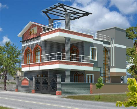 home design architecture 3d house plan with the implementation of 3d max modern