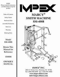 Impex Fitness Sm 4008 Owners Manual Parts List