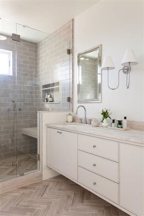 gray stacked shower tiles transitional bathroom