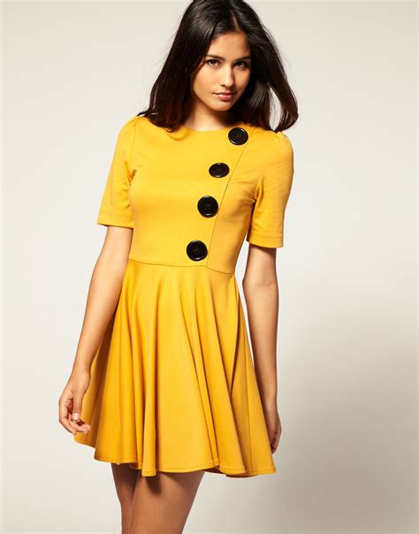 lace fit and flare dress simple yellow dress choice 2016 fashion gossip