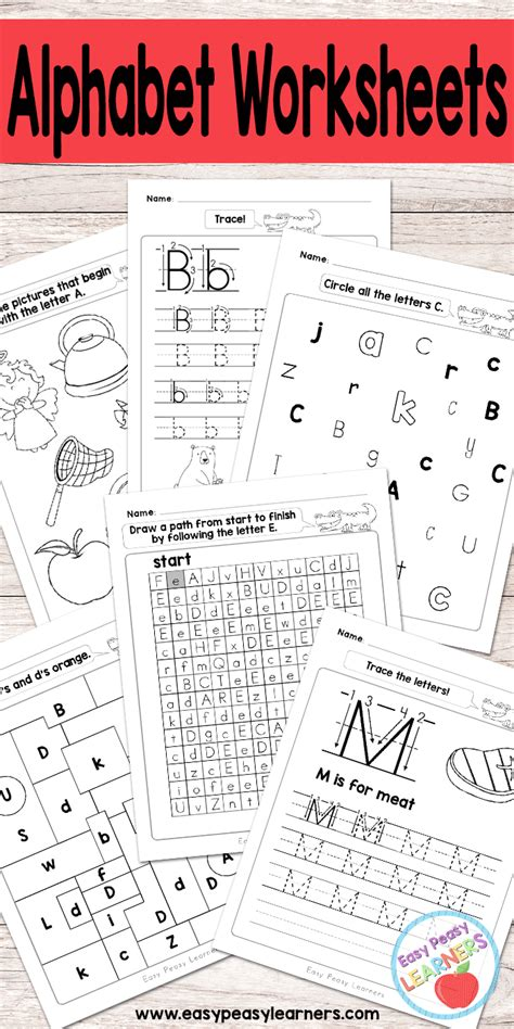 Alphabet Worksheets  Abc From A To Z  Easy Peasy Learners