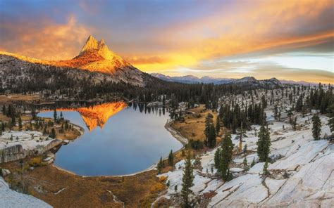Landscape, Nature, Mountain, Sunset, Forest, Snow, Lake