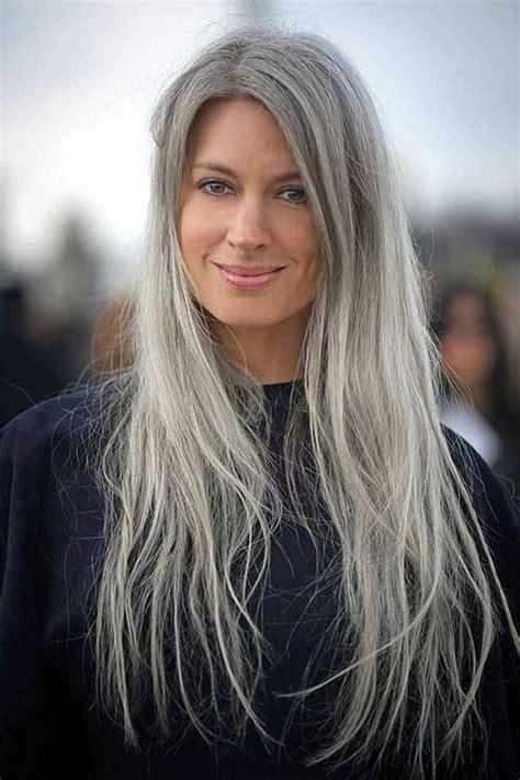 Long Hair Styles for Older Women Natural gray hair