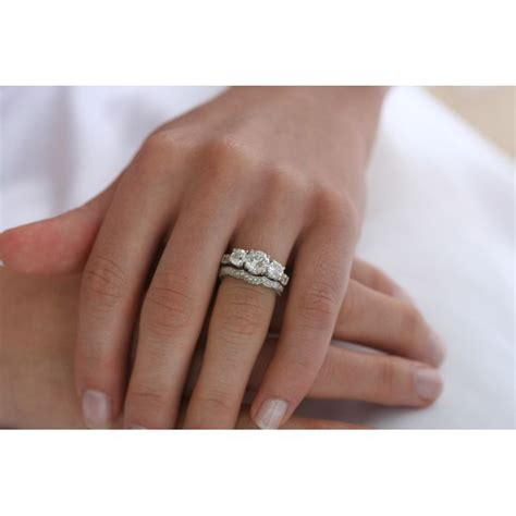 stone  present future cz engagement ring set