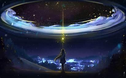 Anime Night Stars Magic Bokeh Wallpapers Desktop