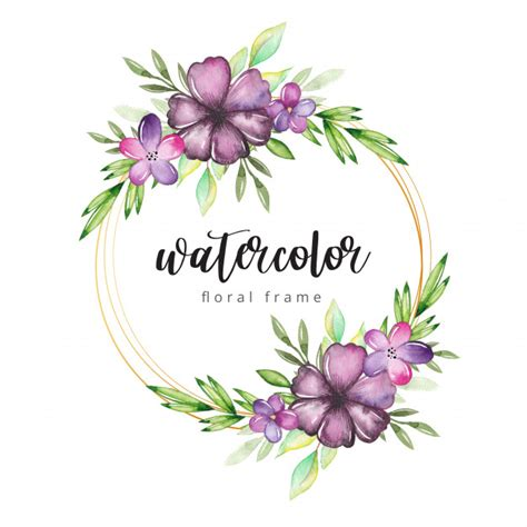 Watercolor floral frame with gold border Premium Vector