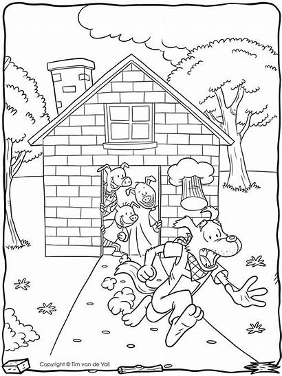 Pigs Wolf Coloring Three Printable Pages Bad