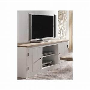 Meuble TV Rangement Chne Massif 150cm ALINE