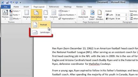 layout word document change whole