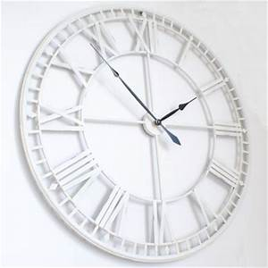 For sale white large skeleton wall clock uk for Large white wall clocks uk