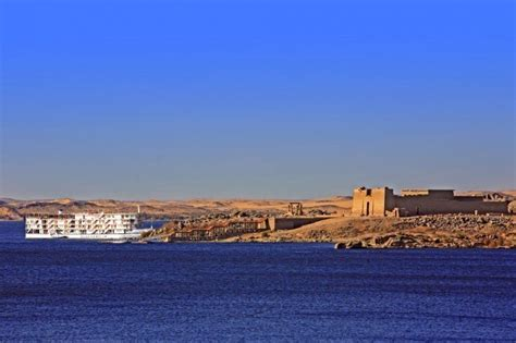 Lake Nasser Boats by Kalabsha Temple Saved From Waters Of The Mighty Lake Nasser