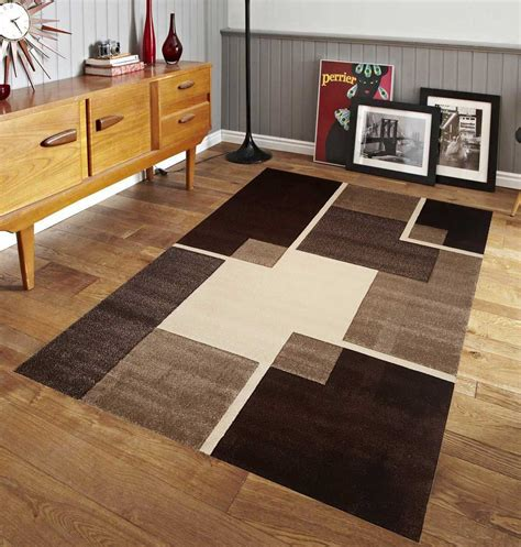 renzo collection center stage design area rug brown