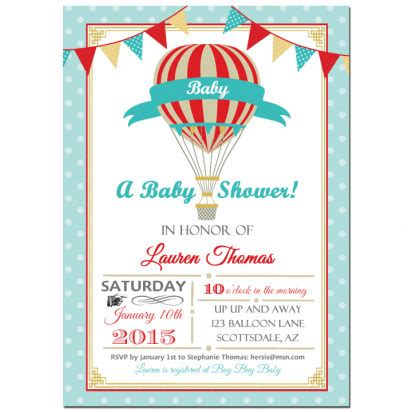 vintage hot air balloon boy party invitation   party