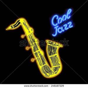 Neon Signcool Jazz Saxophone Stock Illustration