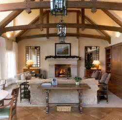 Living Room with Wood Beam Ceiling