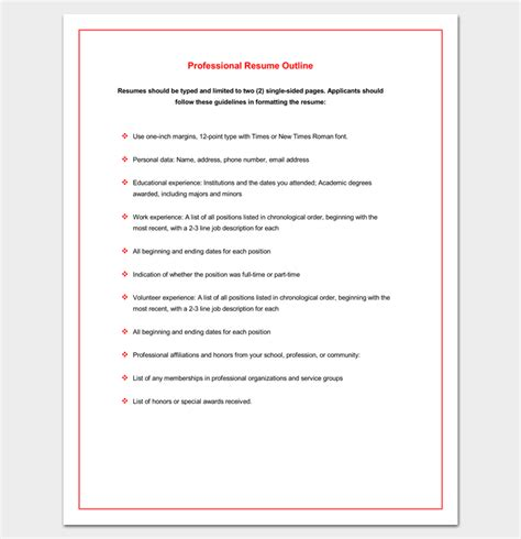 Professional Resume Outline by Resume Outline Template 19 For Word And Pdf Format