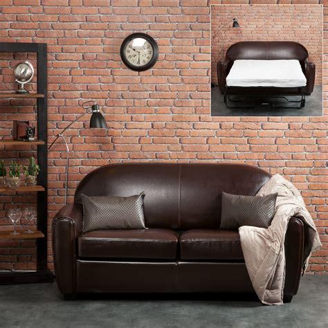 canapé cuir 3 places convertible canapé croûte de cuir enduite bycast brun tennessee 3