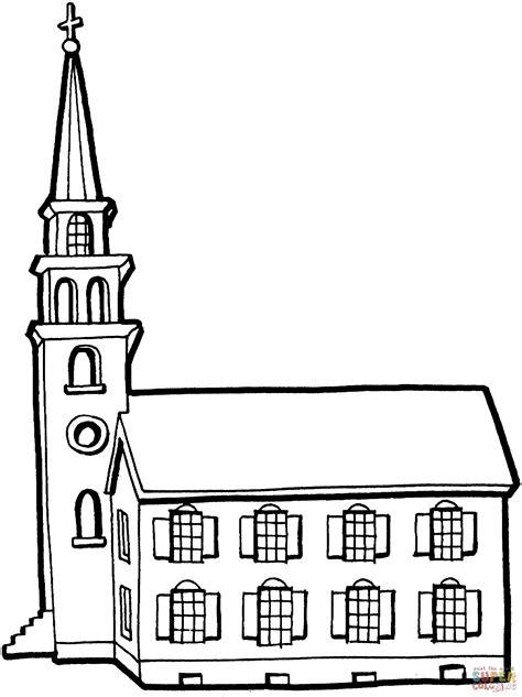clipart chiesa disegno di piccola chiesa con canile da colorare