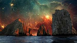 Earth, Water, Universe, Sea, Mountain, Photo, Manipulation, Wallpapers, Hd, Desktop, And, Mobile