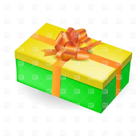decorative boxes rectangular green gift box with yellow top and orange bow