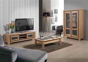 Meuble Tv Bois Massif Moderne : acheter votre vitrine 3 portes chene massif verre bois et ceramique chez simeuble ~ Teatrodelosmanantiales.com Idées de Décoration