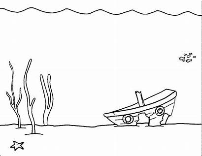 Underwater Coloring Pages Clipart Scene Plants Water