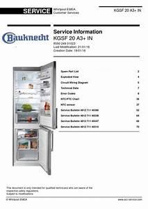 Bauknecht Kgsf 20 A3  In Service Manual  U0026 Technician Guide