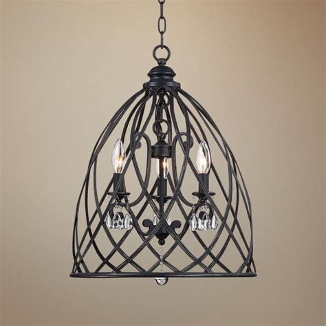 franklin iron works bell cage 22 quot high metal mini chandelier