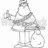 Hitchhiking Djart Lineart Santa Cartoon Christmas Wackystock sketch template