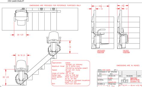 Step Saver Stairlift   CAD Drawing (Savaria Gulf)