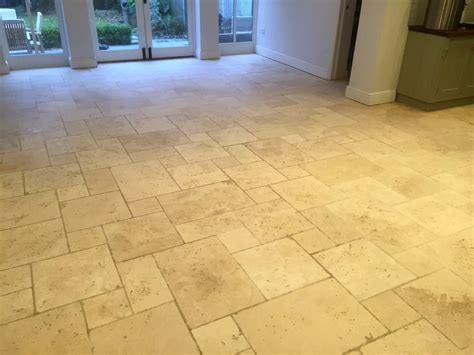 Filthy Limestone Tiled Floor Restored In A Maidenhead